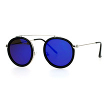 Vintage Retro Fashion Sunglasses Round Metal Top Bridge Flat Narrow Fram... - $9.95