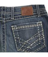 BKE Harper Stretch Distressed Dark Wash Thick Stitch Capri Denim Jeans W... - $34.55