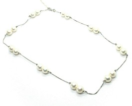 18K WHITE GOLD NECKLACE ALTERNATE VENETIAN CHAIN ROUND DOUBLE 8mm FW WHITE PEARL image 1