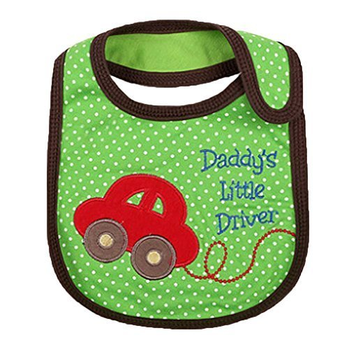 Lovely Car Green Cotton/PVC Adjustable Waterproof Baby Bib Pocket Bib 612""