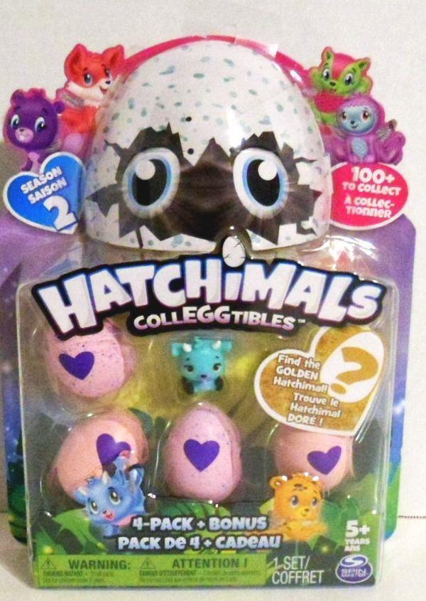 NEW HATCHIMALS COLLEGGTIBLES 4 PACK PLUS BONUS SEASON 2 GOLDEN HATCHIMAL CHANCE