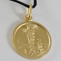 Pendant Yellow Gold Medal 750 18k, Madonna of the Guard, 17 MM, Italy Made image 3