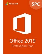 5 PC MICROSOFT OFFICE 2019 PROFESSIONAL PLUS 32/64 BIT PRODUCT KEY AND D... - $33.99