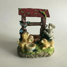 """Ceramic Figurine Whimsical Dogs at Water Well  4"""" X 3.5"""" X 2"""" Tall Colle... - $10.64"""