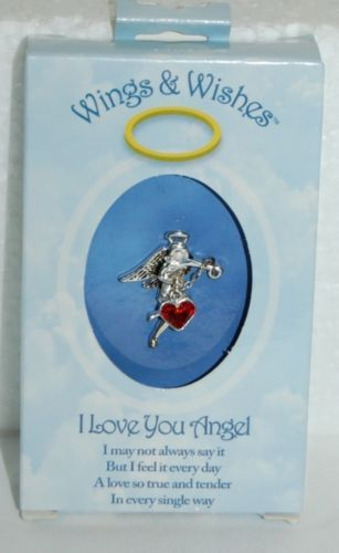 DM Merchandising Wings Wishes Love Angel Silver Colored Holding Red Heart