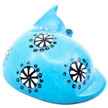 Tabaka Chigware Hand Carved Kisii Soapstone Blue Flower Sleeping Cat Figure image 4
