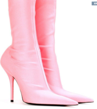 9AB152 Candy color pointy booties, stiletto, high stretchable,size 4-11, pink - $88.80