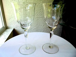 Set of 2 Vintage Tall Optic Bowl Cut Clear Wine Goblets - €25,50 EUR