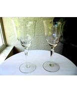 Set of 2 Vintage Tall Optic Bowl Cut Clear Wine Goblets - £23.48 GBP