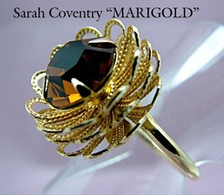 Topaz Rhinestone Ring Sarah Coventry MARIGOLD 1970s Adjustable - £7.53 GBP