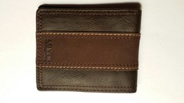 Levi's Men's Traveler Wallet With Suede Stripe Detail, Brown NEW - $16.82