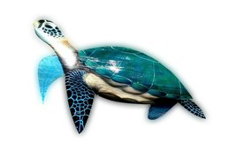 Sea Turtle Carved painted from large Palm Tree Frond, tortoise nautical art - $98.10 CAD