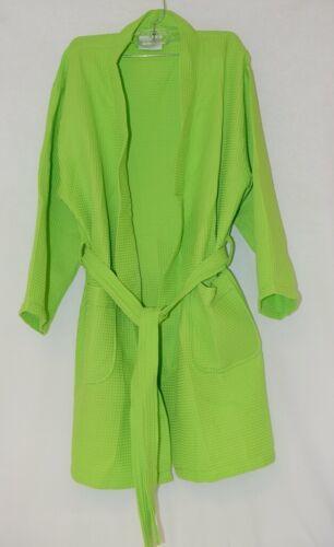Mirko Thigh Length Waffle Weave Kimono Robe One Size Lime Green