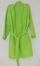 Mirko Thigh Length Waffle Weave Kimono Robe One Size Lime Green image 1