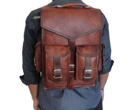Real genuine leather men's backpack bag laptop satchel briefcase brown v... - $55.04