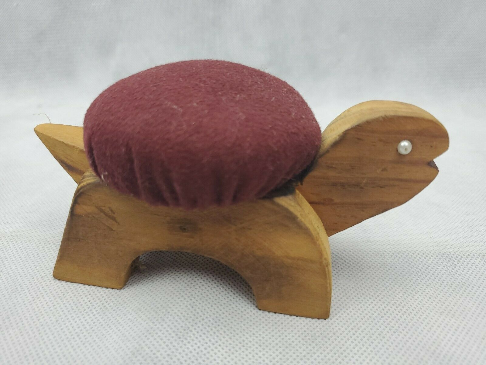 Vintage Figural TURTLE Sewing Pin Cushion wood maroon 5.5""