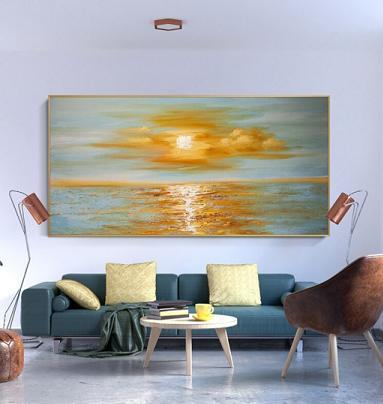 Sunrise sea horizon oil painting wall art decor2