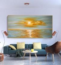 Sunrise sea horizon oil painting wall art decor2 thumb200