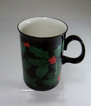 Dunoon Stoneware Mug Cup Holly Design Caroline Bessey Scotland Black Handle - $5.99