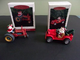 Hallmark Ornaments Here Comes Santa Tractor and 4x4 #16, #18 Lot of 2 - $20.00