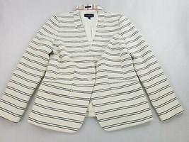 new TALBOTS women jacket blazer Aberdeen white cotton pockets button sz 12 - $47.68