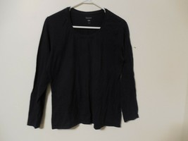 Mens Hanes T-Shirt Large Solid Black Long Sleeve Crew Neck Tee 100% Cotton - $7.90