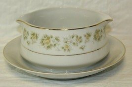 "Royal Wentworth Caroline Plated Gravy Boat Roses & Daisies Gold Trim EUC 7"" - $24.99"
