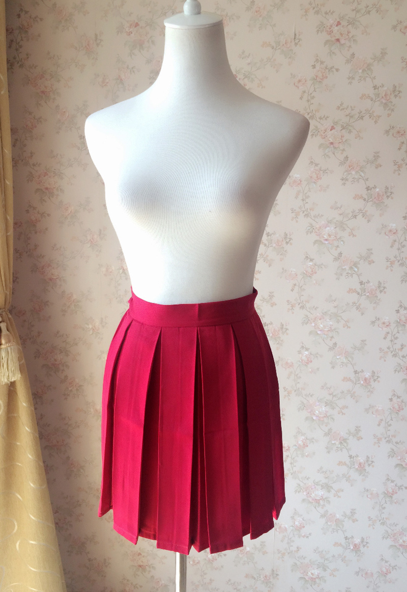 Red Pleated Skirts Plus Size Pleated Red Mini Skirts Women Girl School Skirts