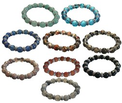 Designer Style Facet Cut Glass Beaded Stretch Bracelet Choose from 9 Colors G3 - $12.99