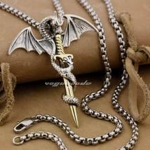LINSION 925 Sterling Silver Flying Dragon & Brass Sword Pendant for Men ... - $85.99+