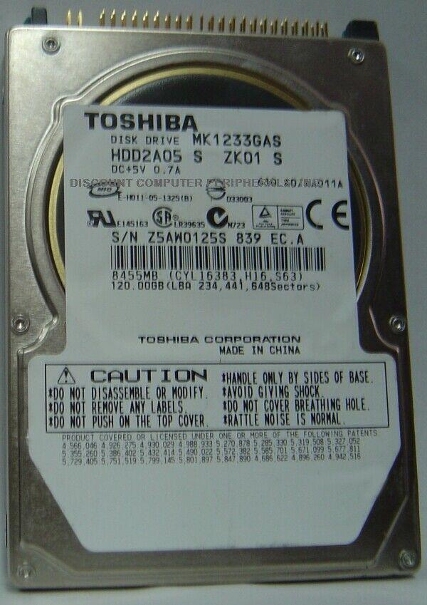 "New MK1233GAS Toshiba HDD2A05 120GB 2.5"" 9.5mm IDE 44pin Hard Drive Free US Ship"