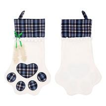 Dog Cat Paw Stocking Socks Plaid Christmas Gift Bags Holder Xmas Tree Or... - $11.99