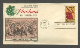 Oct 23 1974 Christmas with Currier Ives Central Park 1974 Fleetwood FDC #1550 - $4.99