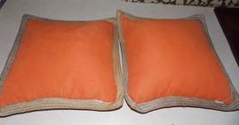 Pair of Orange Tan Print Throw Pillows / Decorative Pillows 17 x 17 - $49.95