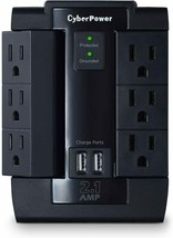 6 Outlet Pivot Surge Protector Wall Tap with 2 USB (2.1A) Charging Point... - $29.69
