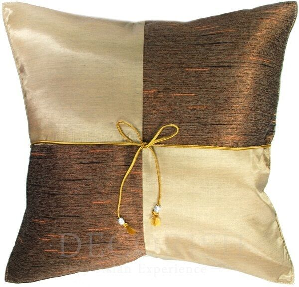 SILK DECORATIVE THROW PILLOW CUSHION COVER CASE FOR SOFA COUCH BED CHECK 16x16