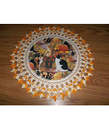 Fall Thanksgiving Doily Cats and Orange Pumpkins Lace Table Topper Round... - $31.40