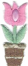 Pink Tulip Flower Pot Embroidery Patch - $10.89