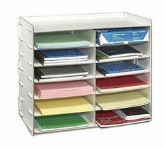 AdirOffice White Wood Office Paper Storage 12 Shelf File Desk Stand Orga... - $44.99