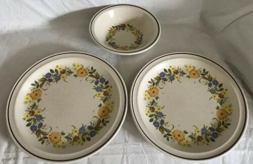 Nikko China Buttercup Pattern 2 Dinner Plates / 1 Soup Bowl Stoneware Unused