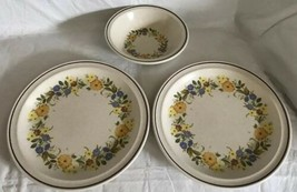 Nikko China Buttercup Pattern 2 Dinner Plates / 1 Soup Bowl Stoneware Unused - $24.74