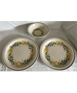 Nikko China Buttercup Pattern 2 Dinner Plates / 1 Soup Bowl Stoneware Un... - $24.99