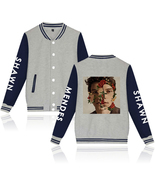 XXS-4XL Shawn Mendes Flower Picture Printed Baseball Jacket Buckle Outwe... - $19.00+