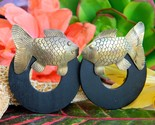 Vintage fish earrings etched brass wood circle posts bohemian figural thumb155 crop