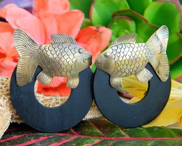 Vintage Fish Earrings Etched Brass Wood Circle Posts Bohemian Figural - $19.95