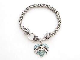 Swimming Blue Crystal Heart Silver Lobster Chain Bracelet Jewelry Swimme... - $14.72
