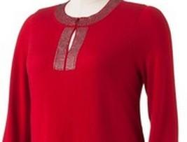 Dana Buchman Womens Chili Pepper Red Embellished Keyhole Sweater Top - $29.99