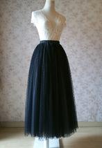 Adult Long Tulle Skirt, Black Gray Polka-dots Tulle Skirt, Evening long skirts image 3