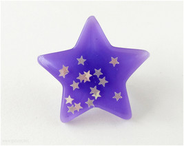 Star Ring, Oversized, Purple, Resin, Silver Plated, Adjustable - Fairy K... - $8.00