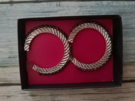 "Avon ~ Beaded ~ Wrapped ~ 2"" Hoop Earrings ~ Silver & Black  - $19.80"